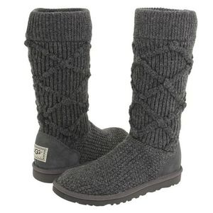 UGG Grey Argyle Knit Boots